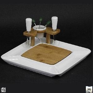 Порцеланов комплект с плато за сервиране на сирена - 29 см.