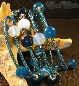 Уникална дамска гривна Ахат, Аквамарин и Лунен камък - DM-2012