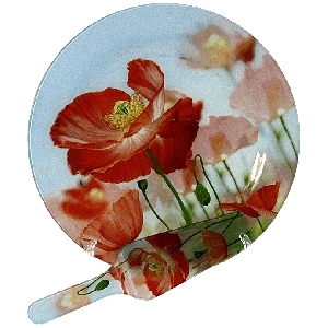Богато декориран стъклен комплект за торта от 2 части - Макове - 31 см