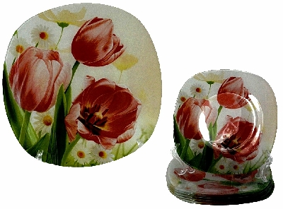 Комплект за торта - 7 части рисувано стъкло - Лалета - 28 и 18 см