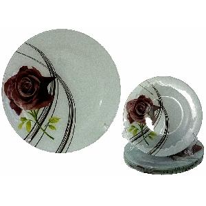Комплект за торта - 7 части рисувано стъкло - Рози - 28 и 18 см