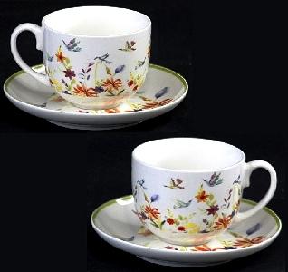 Порцеланов комплект две чаши за кафе или чай - Лятно настроение