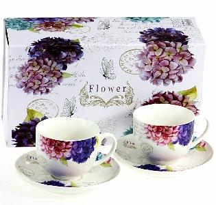 Порцеланов комплект две чаши за кафе или чай - Пролетни цветя