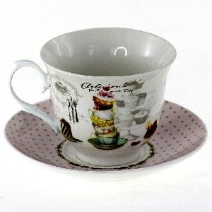 Порцеланов комплект две чаши за кафе или чай 230 мл с кулинарен мотив