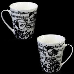 Порцеланов комплект две чаши за кафе или чай с музикален мотив