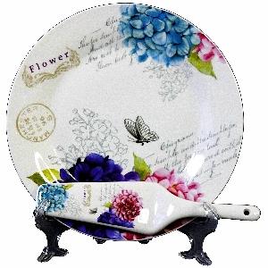 Порцеланов комплект за торта от 2 части - Пролетни цветя - 27 см