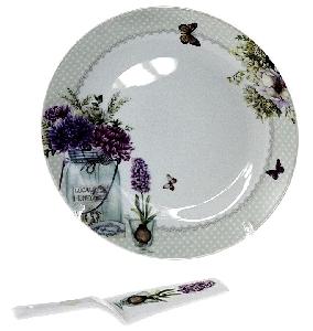Порцеланов комплект за торта от 2 части с цветя и пеперуди - 27 см