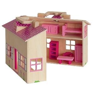 Къща за кукли с аксесоари - куфарче, 15 части // Woody
