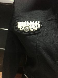 Страхотно дамско късо  дънково якес перли и камъни