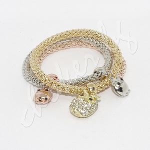 Триредова позлатена нежна гривна с кристали