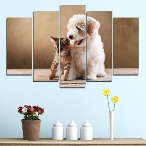 Картина пано за стена от 5 части с кученце и котенце - HD-168. Дизайн 1