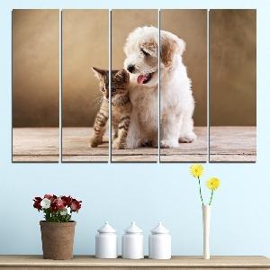 Картина пано за стена от 5 части с кученце и котенце - HD-168. Дизайн 2