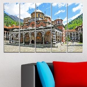 Картина пано за стена от 5 части с изглед от Рилския манастир - HD-465. Дизайн 2