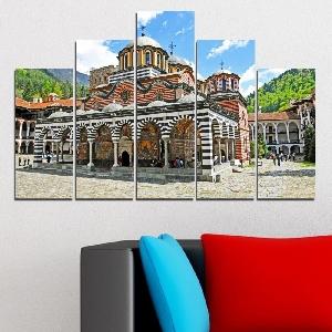 Картина пано за стена от 5 части с изглед от Рилския манастир - HD-465. Дизайн 5