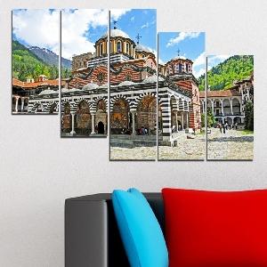 Картина пано за стена от 5 части с изглед от Рилския манастир - HD-465. Дизайн 7