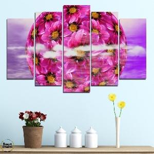 Картина пано за стена от 5 части - Сфера от цветя - HD-474N. Дизайн 1