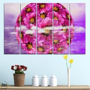 Картина пано за стена от 5 части - Сфера от цветя - HD-474. Дизайн 2