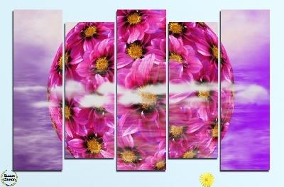 Картина пано за стена от 5 части - Сфера от цветя - HD-474. Дизайн 3