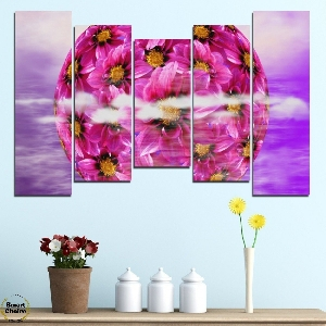 Картина пано за стена от 5 части - Сфера от цветя - HD-474. Дизайн 4