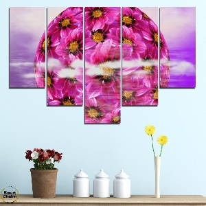Картина пано за стена от 5 части - Сфера от цветя - HD-474. Дизайн 6