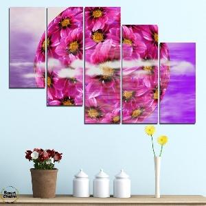 Картина пано за стена от 5 части - Сфера от цветя - HD-474. Дизайн 7