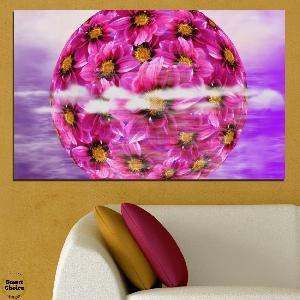 Картина пано за стена от 1 част - Сфера от цветя - HD-474-1