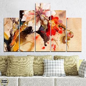 Декоративно пано за стена с рисувана Китайска роза - HD-600. Дизайн 5