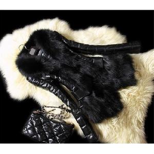 Дамска грейка в черно с пухена предна част